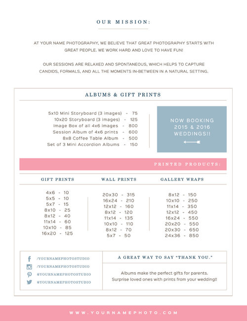 Sale! Pricing Guide Template for Wedding Photographers - Digital ...