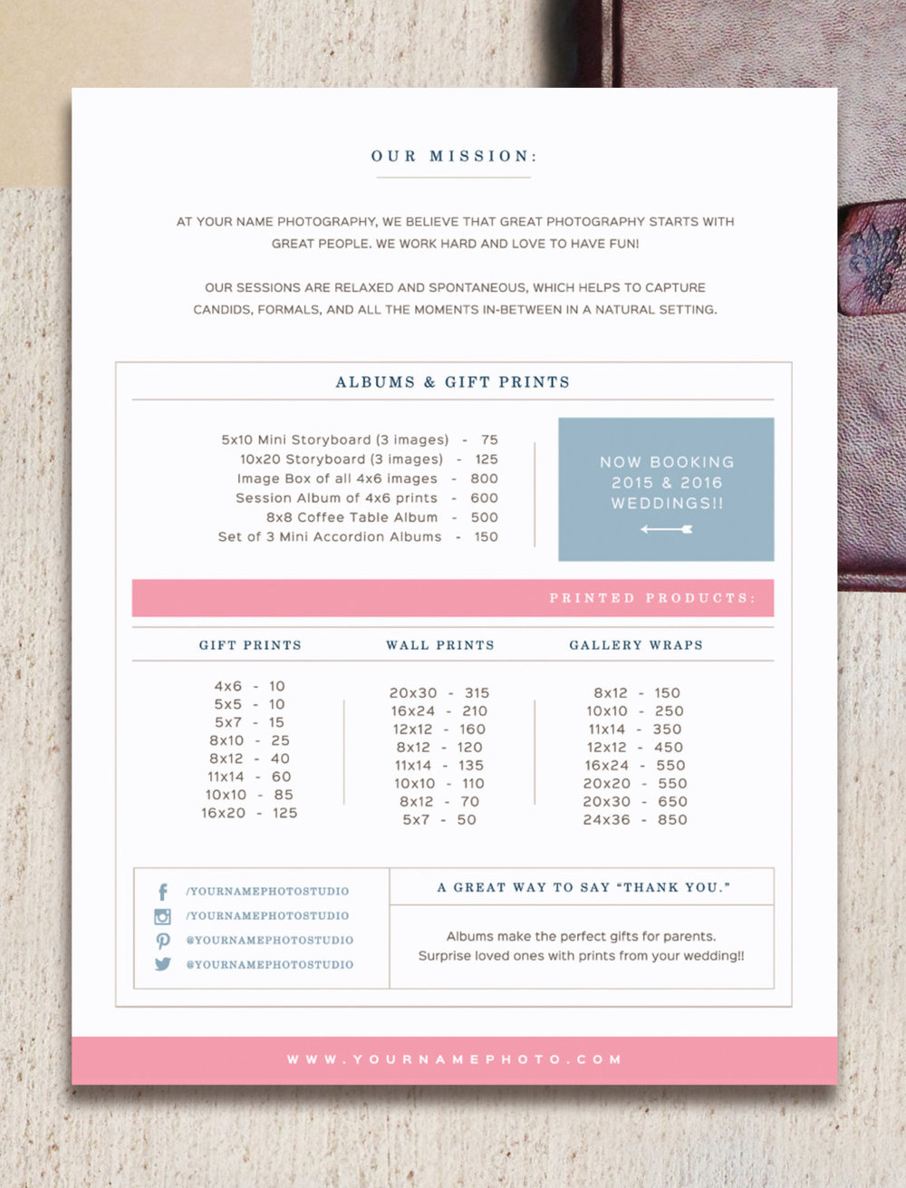 Pricing Guide Template For Wedding Photographers   Digital Printed Products Price  List   Photoshop Files   Letterhead Design   M0131