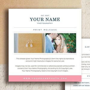 Photographer Print Release Templates
