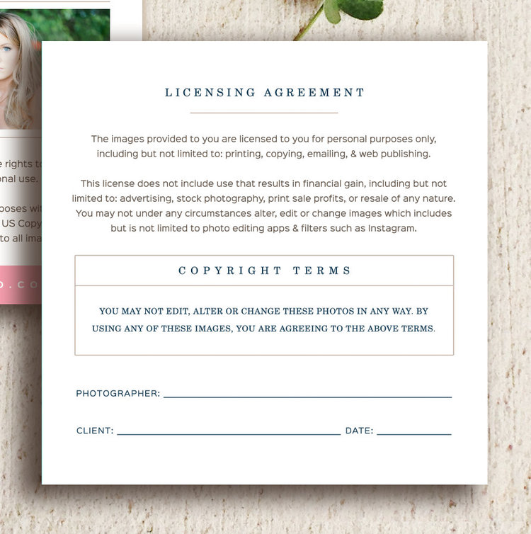 Photographer Print Release Templates - Copyright Forms For Wedding