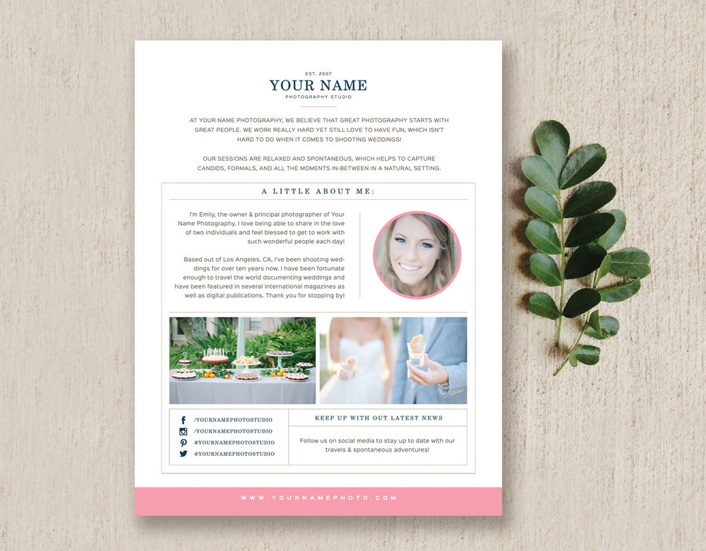 Photographer about me page template solana maxwellsz