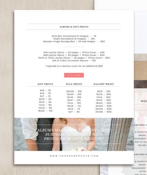 Wedding Photography Magazine Template Pricing Guide Set – Wedding Price List
