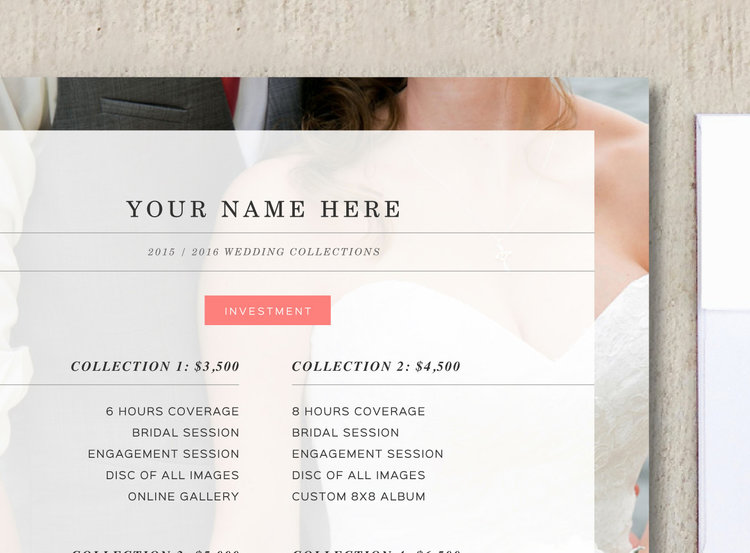 Photography Pricing Template- Wedding Price List Template