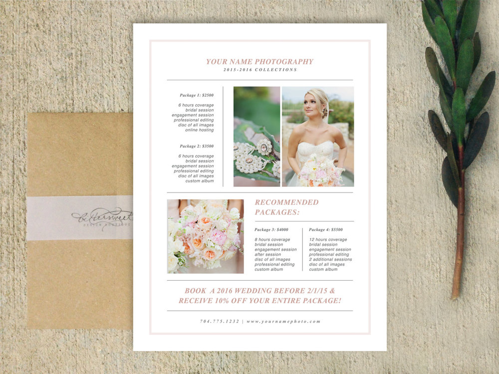 Photographer Magazine Style Pricing Guide Template Laurel