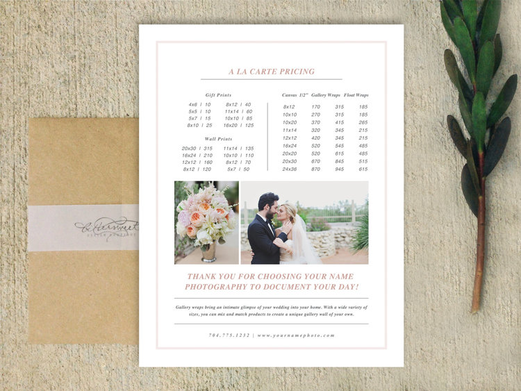 Wedding Photography Pricing Template Set - Laurel