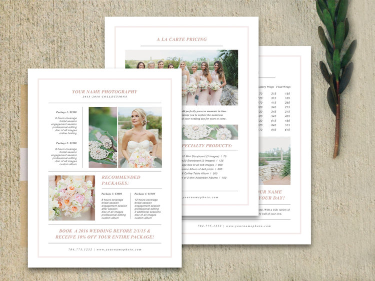 Wedding Photography Pricing Template Set Laurel
