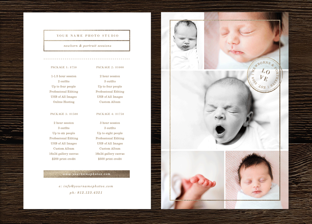 Photography price list template lily for Birth photography contract template