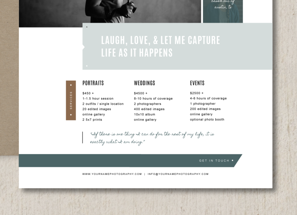 Bittersweet Design Boutique  Price List Design Template