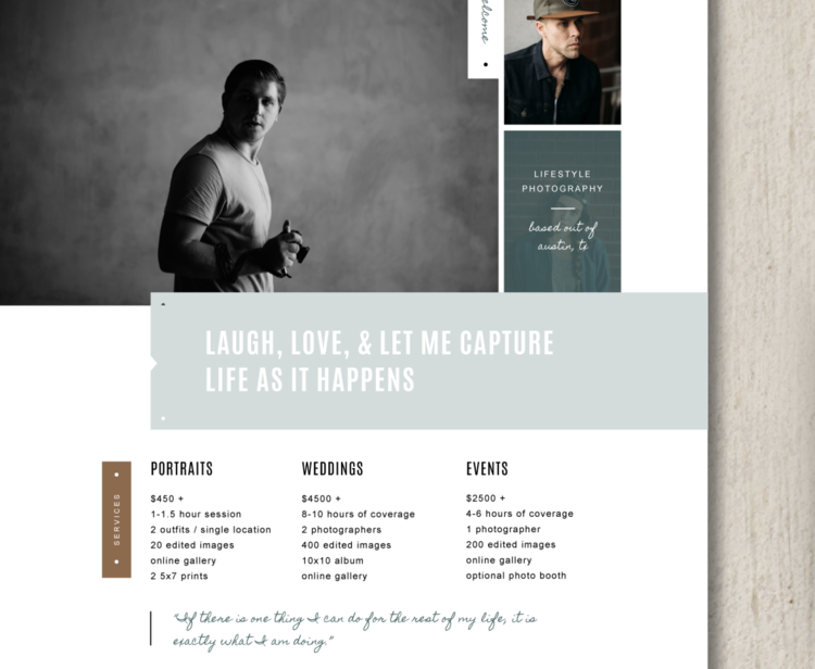 photographer price list template elm