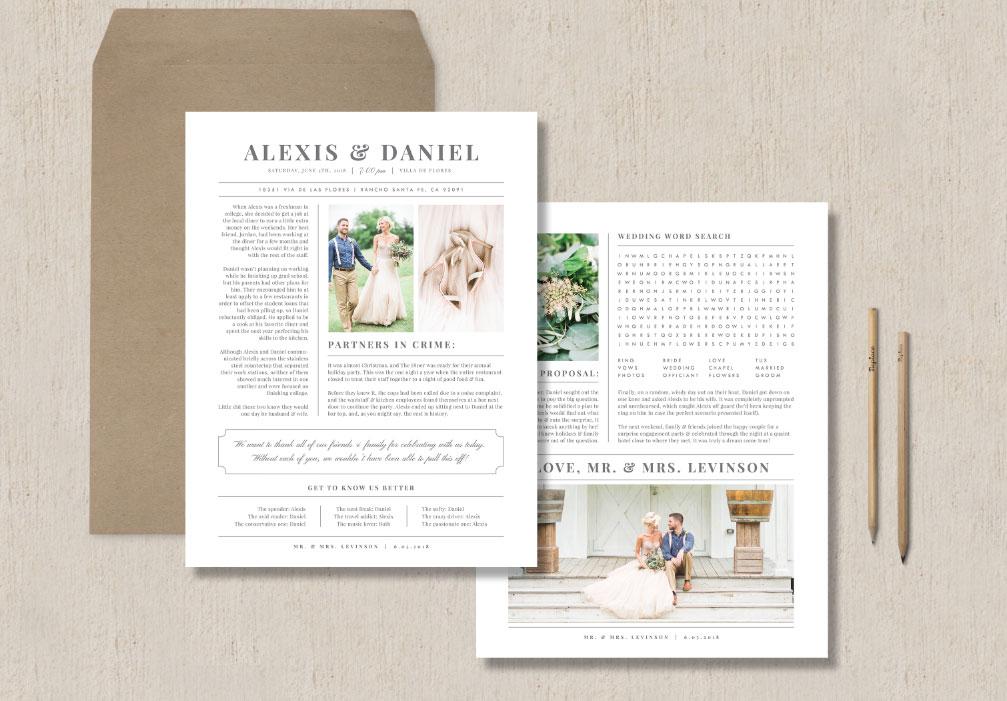Wedding Newspaper Template Word Search Eucalyptus