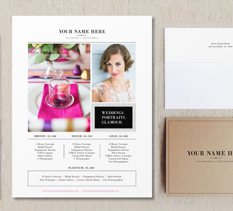 pricing guide template for wedding portrait photographers price