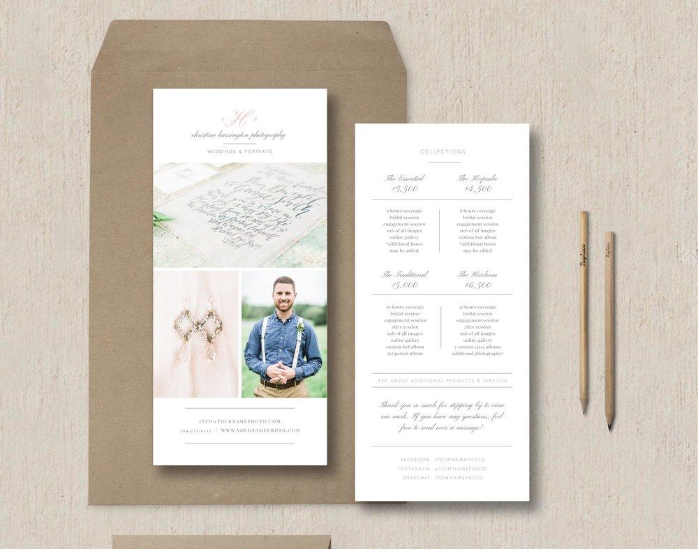 Photographer rack card template eucalyptus photographer rack card template wedding photography pricing brochure maxwellsz