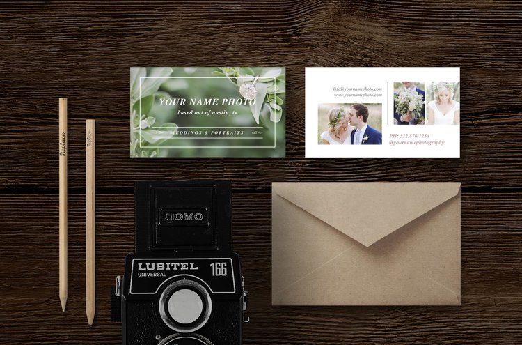 Photography business card template laurel reheart Image collections