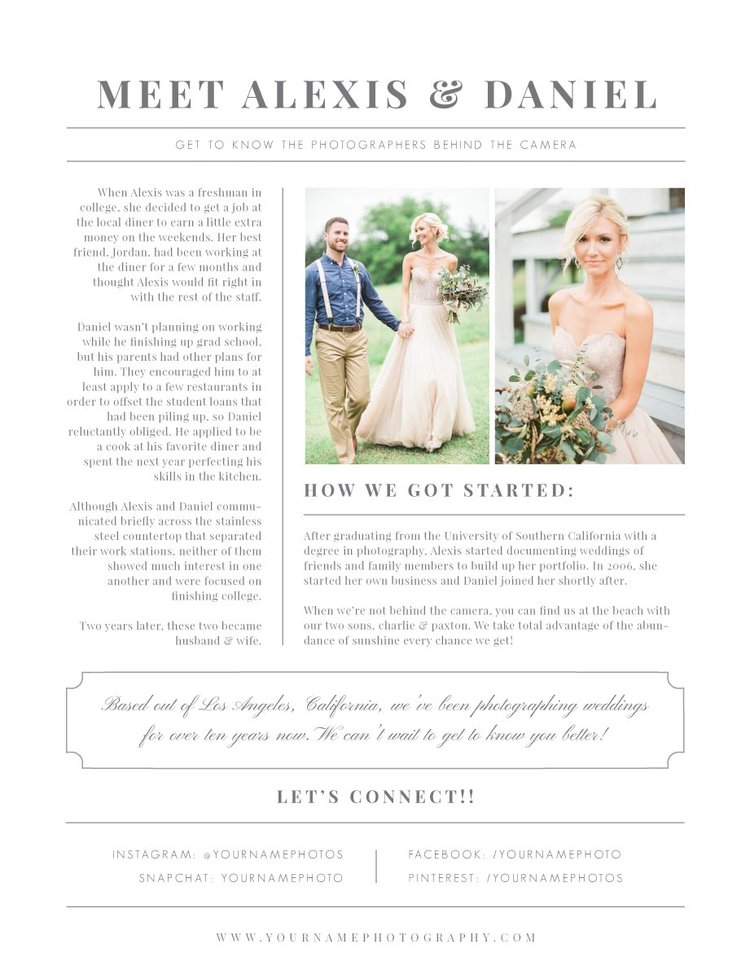 About Me Page Design Template Eucalyptus