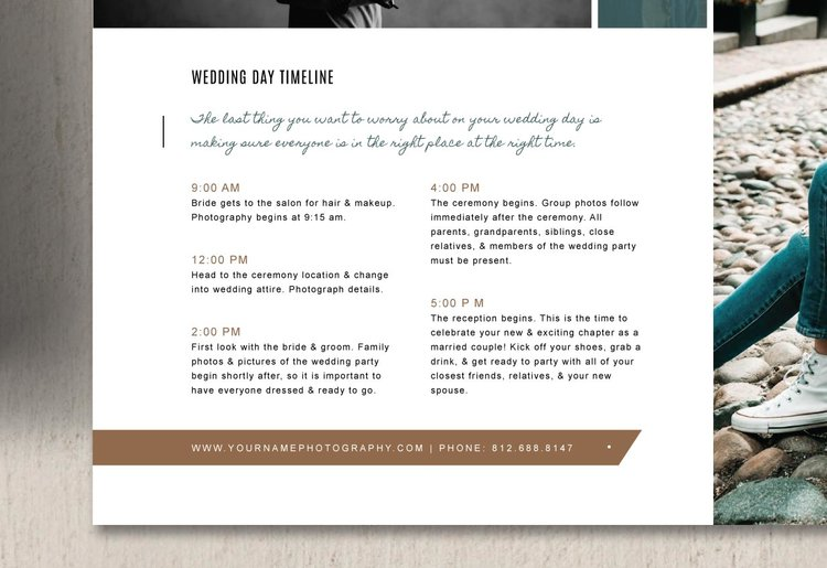 Wedding day itinerary template elm junglespirit Image collections