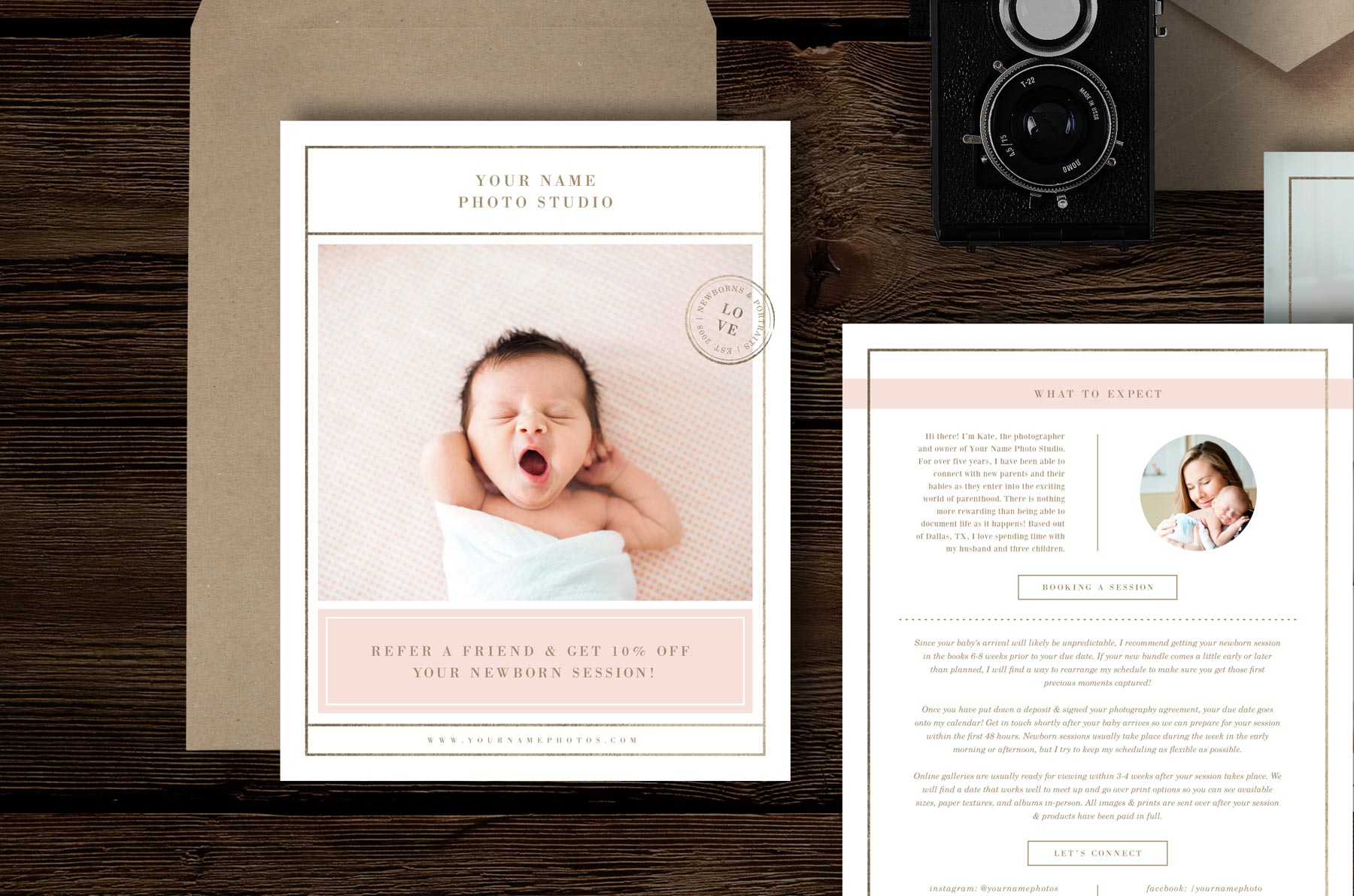 Newborn photography magazine template lily