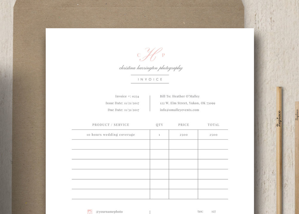 Photographer Receipt Template Studio Invoice Design Eucalyptus