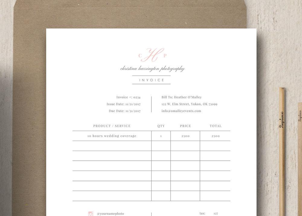 Wedding Photography Invoice: Photographer Receipt Template