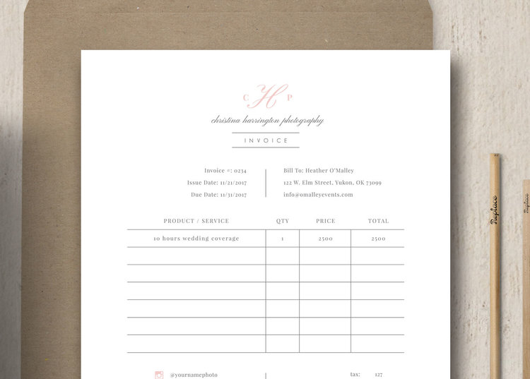 wedding photography invoice