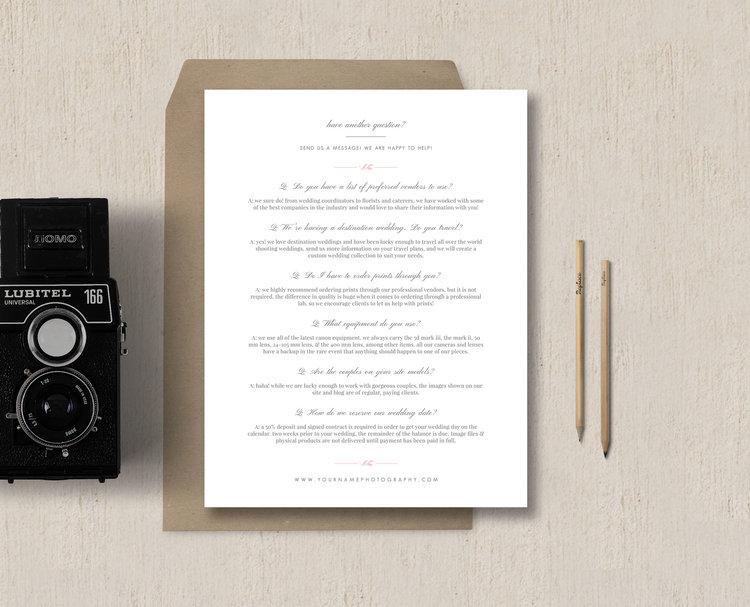 Photography faq page template letterhead design eucalyptus maxwellsz