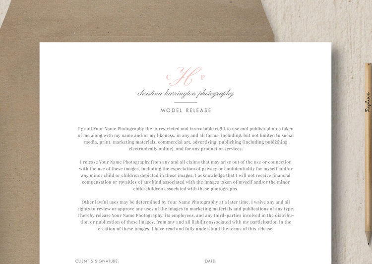 Photographer Model Release Template - Eucalyptus