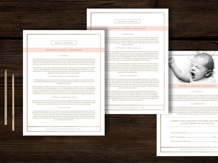 Newborn Photography Contract Template  Lily
