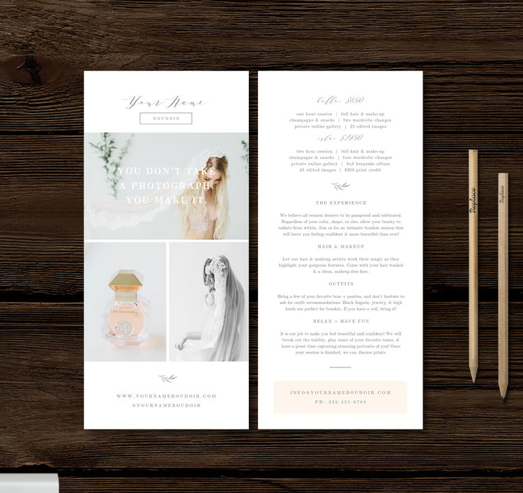 Rack Card Template Modern Calligraphy Style Designs For - Rack card design template
