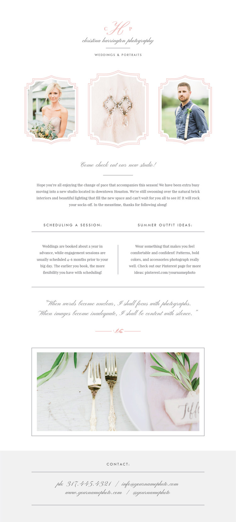 wedding photographer newsletter template eucalyptus