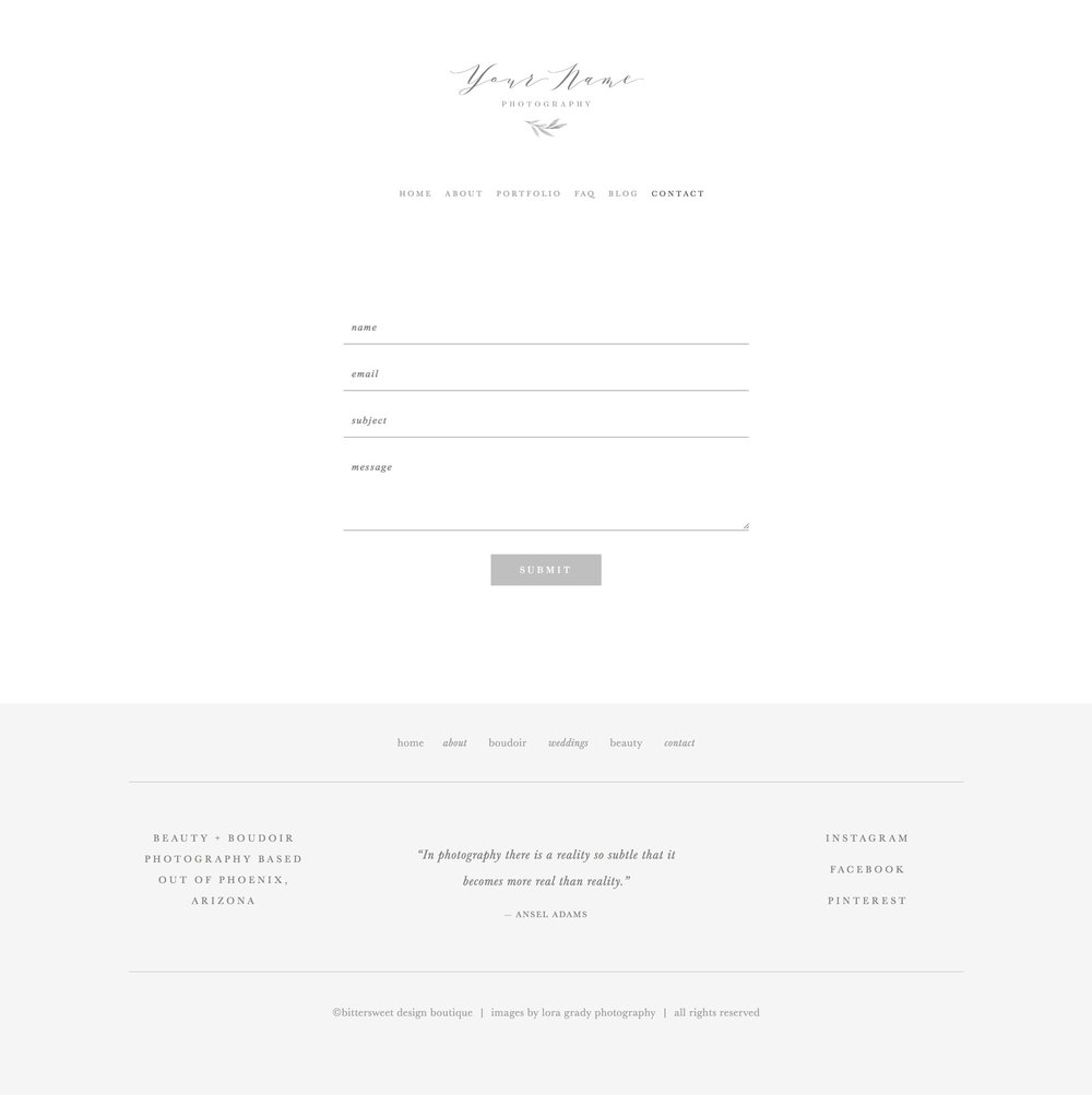 Squarespace website template for photographers