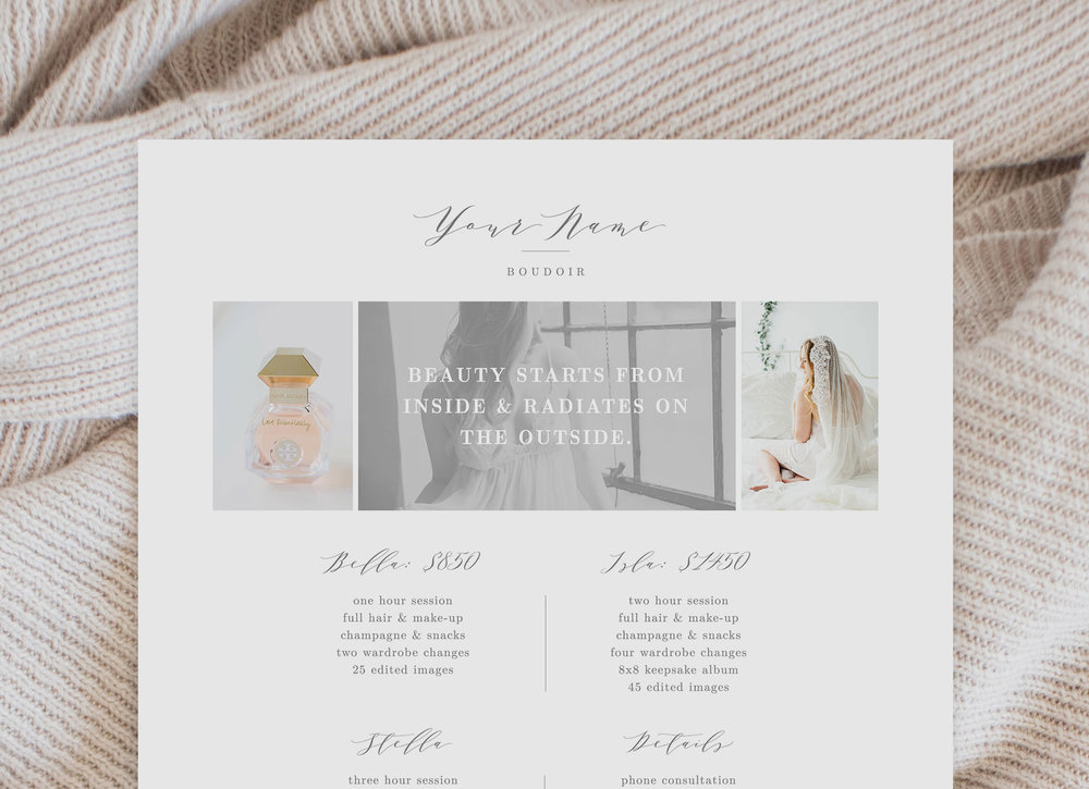 Photographer Pricing Sheet Template