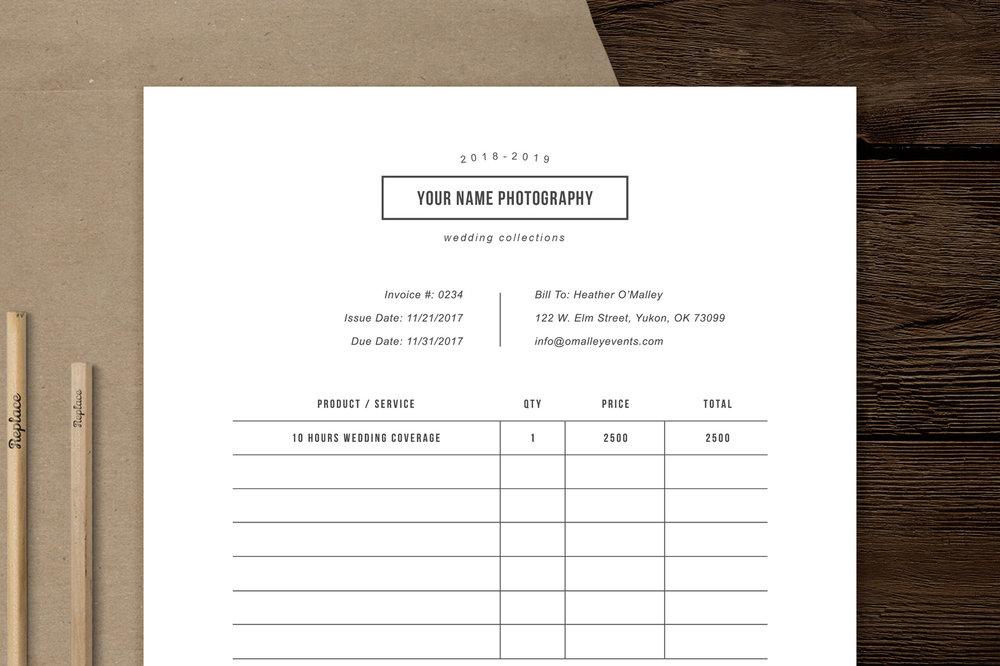 photographer invoice design template minimal