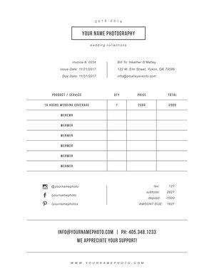 Photographer invoice design template minimal maxwellsz