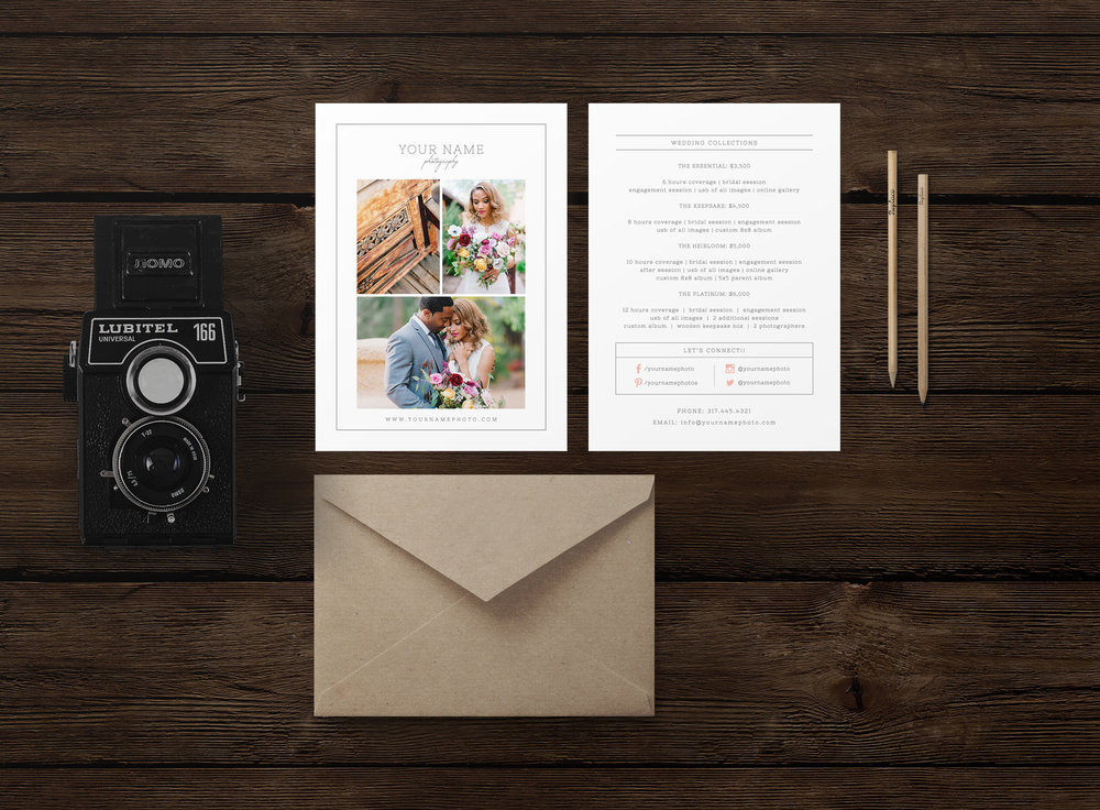 Rack Card Template | Rack Card Pricing Guide Template For Photographers Cambria