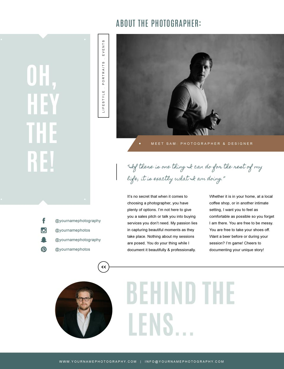 wedding photography marketing templates | about me page design for photographers | bittersweet designs