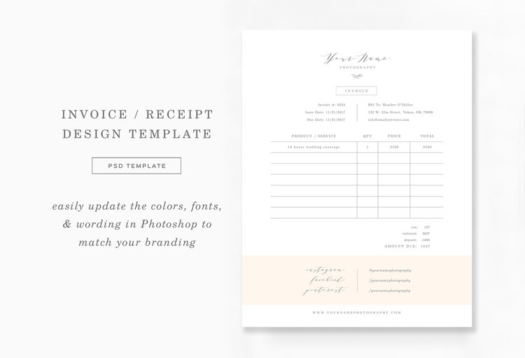 Invoice Template Photography Marketing Sheet Aspen