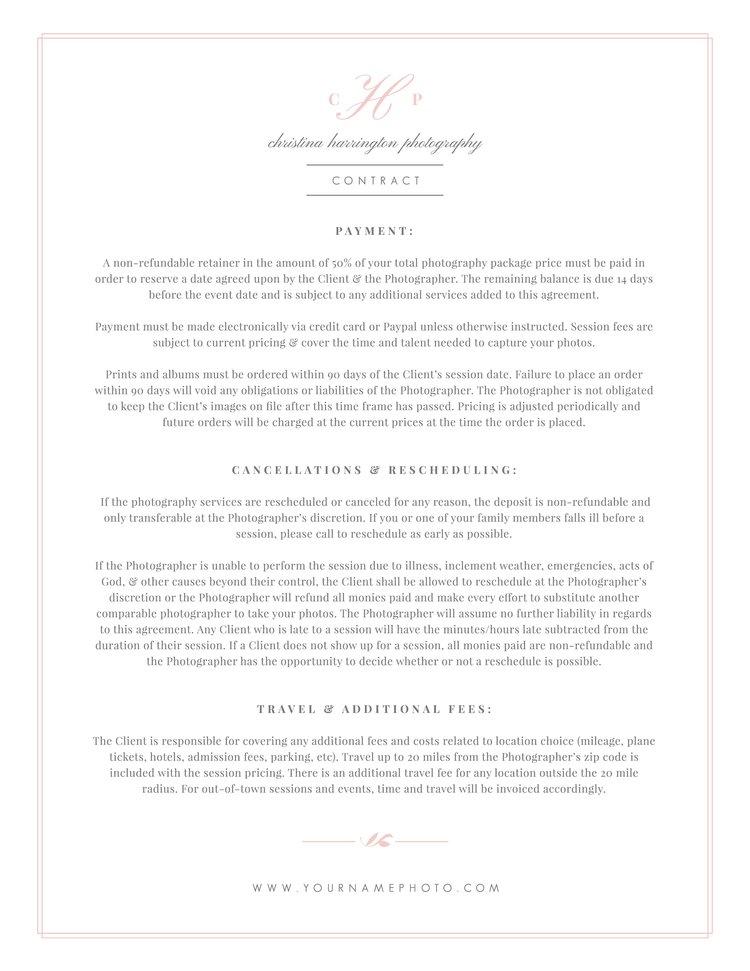 wedding photography contract template eucalyptus