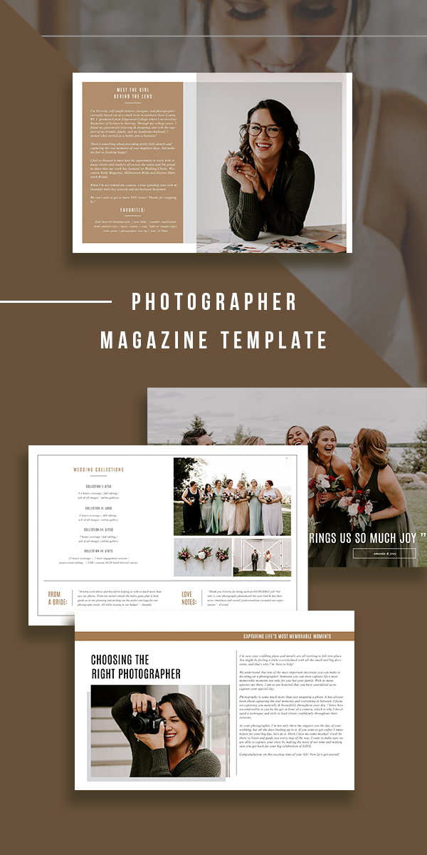 Wedding photographer welcome magazine template.