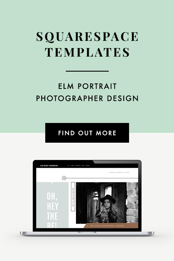 Portrait photographer Squarespace website template design. Bittersweet Design Boutique.