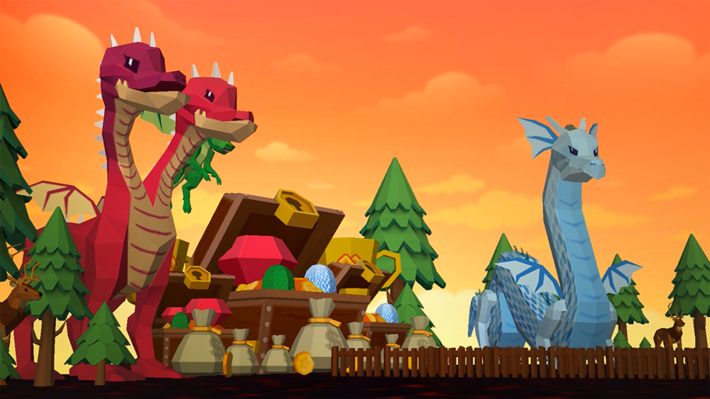 Character and Environment asset test render for Dragon themed Quest Game