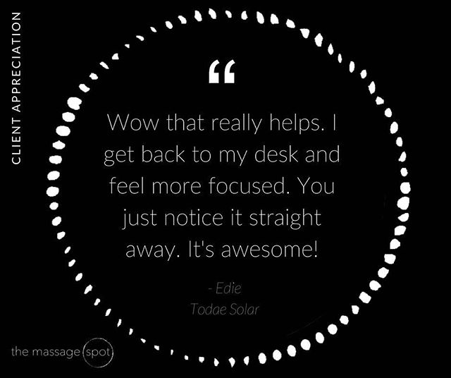 Lovely feedback from the team on the ground @TodaeSolar  #corporatemassage #corporate #massage #culture #wellness #corporatewellness #magichands #humanresources #HR #investinginyourpeople #greatplacestowork #clienttestimonial #themassagespot #testimonials #Solar #Todae