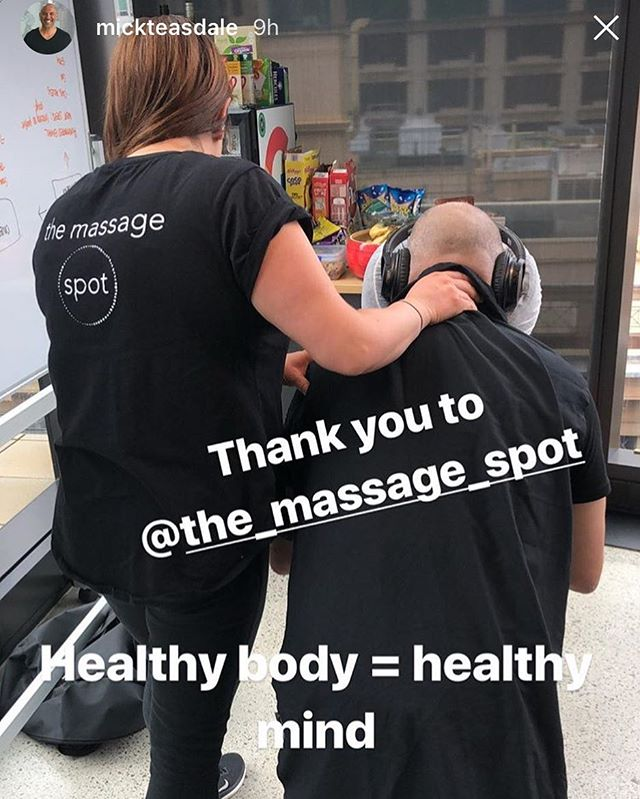 "As the great @mickteasdale says... ""healthy body = healthy mind"" #corporatemassage #corporate #massage #culture #wellness #corporatewellness #magichands #humanresources #HR #investinginyourpeople #greatplacestowork #clienttestimonial #themassagespot #digitalmaas"