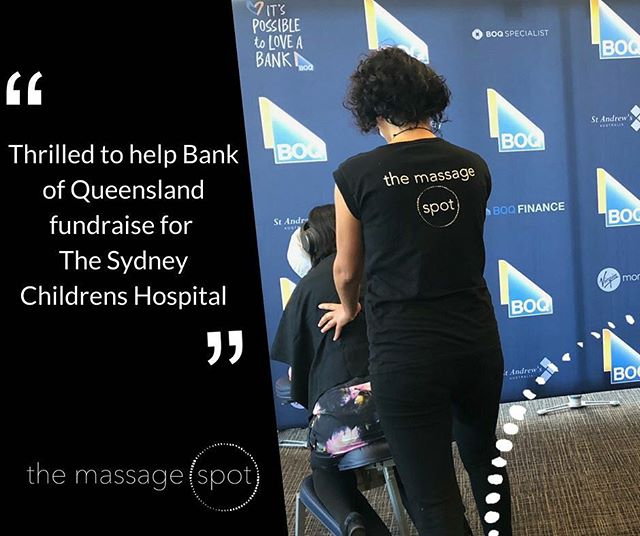 """Hats off to @bankofqueensland for an awesome fundraising effort last week. They held a fundraising day where staff could """"buy"""" their lunch and a massage by way of donations for @SydneyChildrensHospitalFoundation. @the_massage_spot was thrilled to be part of this fantastic initiative!  #corporatemassage #corporate #massage #culture #wellness #corporatewellness #magichands #humanresources #HR #investinginyourpeople #greatplacestowork #themassagespot #Fundraising #SCHF #BOQ #sydneychildrenshospitalfoundation #sydneychildrenshospital #SCHF"""