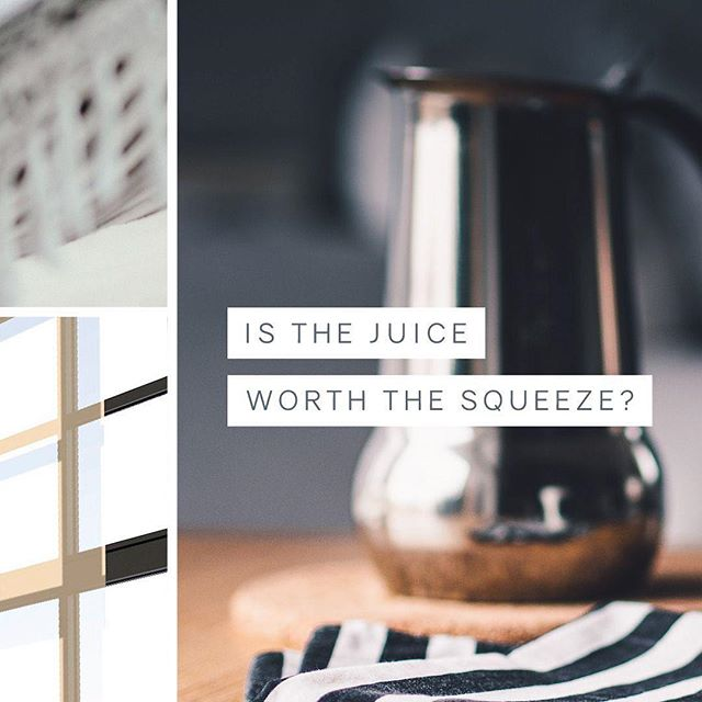 "Is the juice worth the squeeze? Oh, the lessons I've learned from reality TV! 🤣⠀ ⠀ I actually heard this line while channel surfing last weekend and landed on an episode of ""Married At First Sight"" 🙈 ... and oddly enough, it really stuck with me!⠀ ⠀ Sometimes I find myself getting hung up on the day-to-day tasks on my to-do list and realize I'm getting frustrated! But why?⠀ ⠀ This week I've been asking myself ""is the juice worth the squeeze"" and the answer is YASSS!!! ✨⠀ ⠀ Each time I've got something to tackle that might seem tedious or even annoying, I force myself to look at the big picture. It's like putting together a puzzle, you're driving yourself crazy trying to find ""that one piece"" but you know that it's a necessary, key element to finishing the whole picture. 👌🏻⠀ ⠀ I'd love to hear one ""squeeze"" you're battling with right now that, since I'm forcing you to look at it, really isn't that bad because you can't get your juice without it! 🤗"