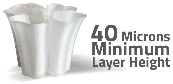 With a minimum layer height of just 40 microns the AXIOM can produce ultra-fine detail while minimizing the striated appearance common to FFF style 3D printers