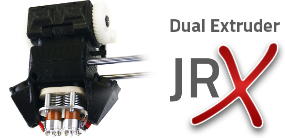 The AXIOM Dual Extruder 3D Printer's improved Dual JrX Hotend reaches independently controlled temperatures of 315°C (599°F) and is designed to resist troublesome clogs.