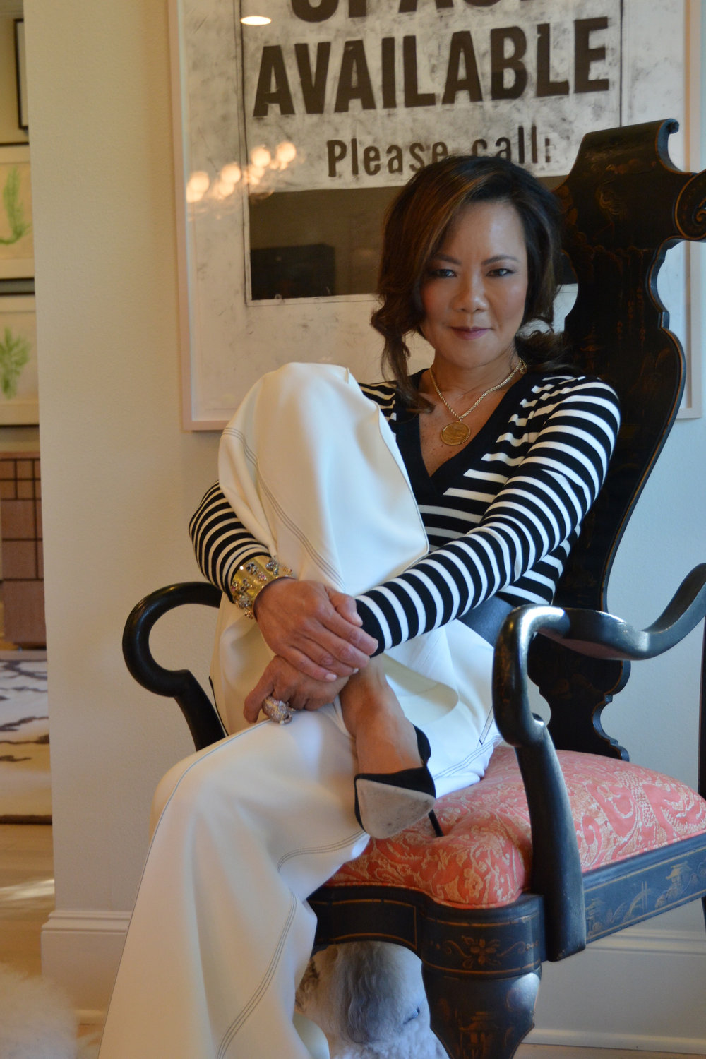After my long work week, it was such a delight to freshen up and enjoy some much needed downtime with friends. I chose a pair of crisp white Celine, wide leg culottes with black back pocket detailing and stitching for their flattering lines and the glorious flow. On top, I'm wearing a Veronica Beard black and white body suit which  complimented the fluid lines of the Celine pants. For a little bit of pop and sparkle, I added with my favorite Alexis Bittar gold cuff bracelet and ring.    But the real story here is my distressed Luisa Spagnoli belt. It was pretty rough to discover that this beautiful buckle had a significant scratch across its surface. Rather than shy away from wearing it, or much worse, getting rid of it, I decided to just go with it. I got a hammer, and distressed the hardware even more to give it a completely different but edgier look, which seemed more fitting than the odd single but noticeable scratch . Now the belt is still beautiful, but a tad more current in feel and I wear it even more than ever. Another example of how when life gives you lemons...  Hope you're having a great week. xo, Kathleen