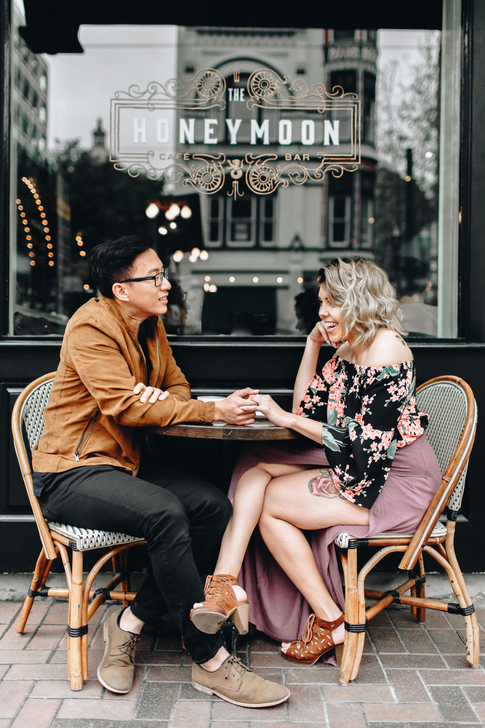 coffeeshop engagement session