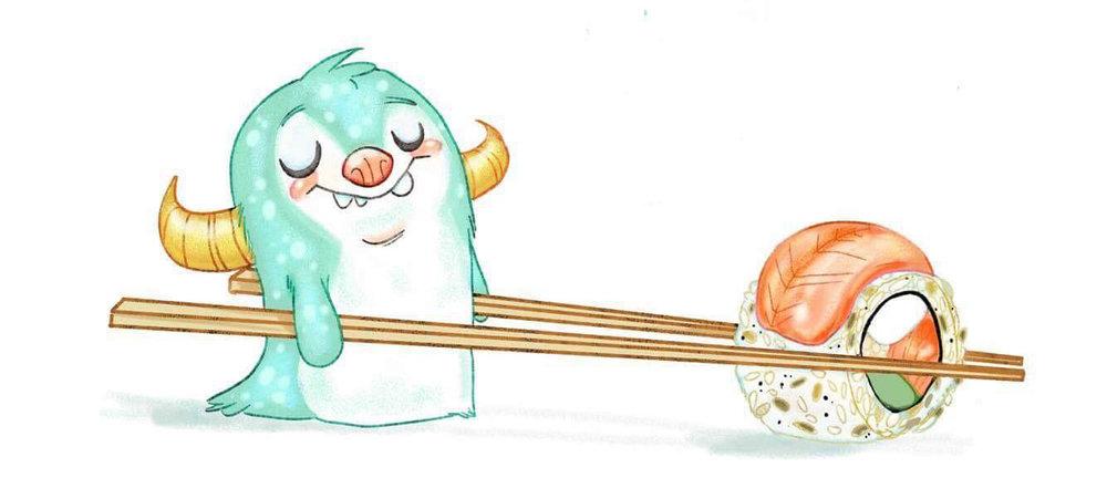 """Sushi Squatch"" by Eva Sowinski (Critterosity)"