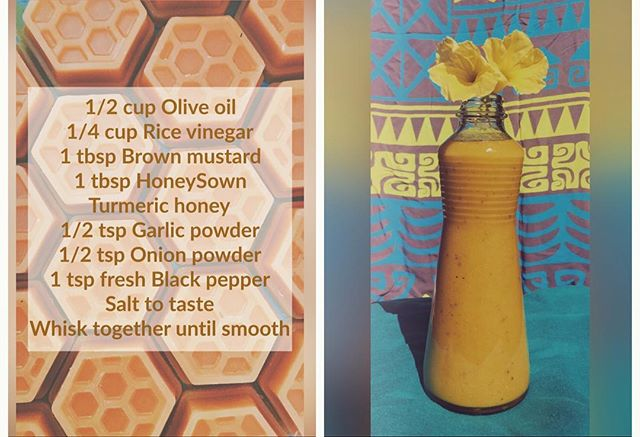 Try this electrifying salad dressing made with our Turmeric honey, YUMMY 😋 this simple dressing can be easily adapted with ingredients that you already have. Making your own dressing should be fun and imaginative, play with flavor and try our Turmeric honey!! #easyeats #flavorfight #sweet #ish #honeyisdabomb #munchiesovercrunchies