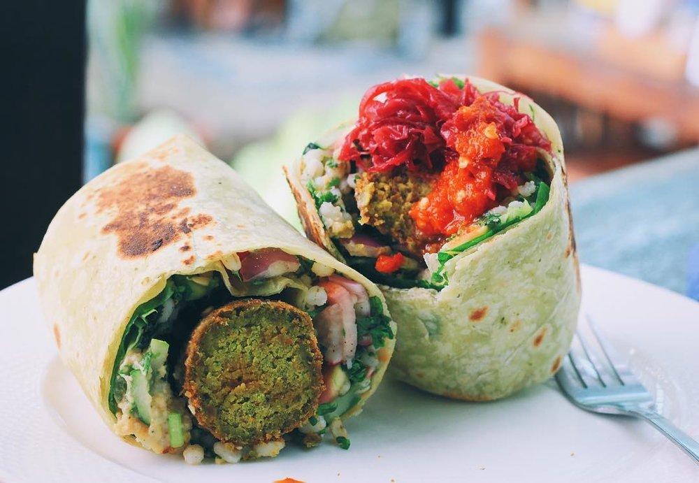 vegan, wrap, falafel, chiang mai, thailand